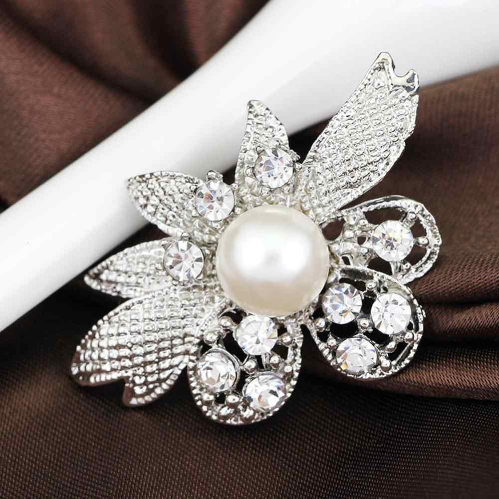 Elegan Kristal Mutiara Bunga Bros Wanita Dasar untuk Pernikahan Party Dress Warna Perak Hadiah Pin Bros