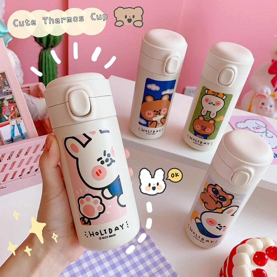 Mignon Style coréen Thermos bouteille créative 304 en acier inoxydable flacon tasse à vide pour les femmes voyage tasse Kawaii mode bouteilles deau