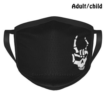 Skull Rocker Sign Best Gift Funny Print Reusable Face Mask Metalhead Skull Skeleton Rocker Sign Hand Bones Death Hipster Gothic image