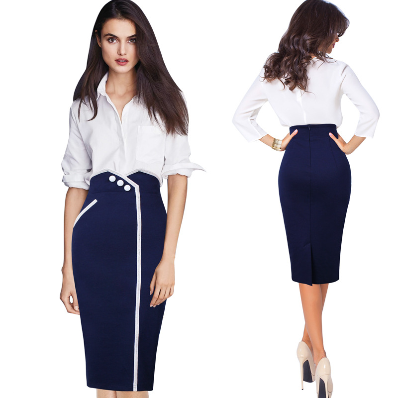 2018 Europe And America New Style WOMEN'S Skirt Slim Fit High-waisted Skirt Large Size Joint Business Dress