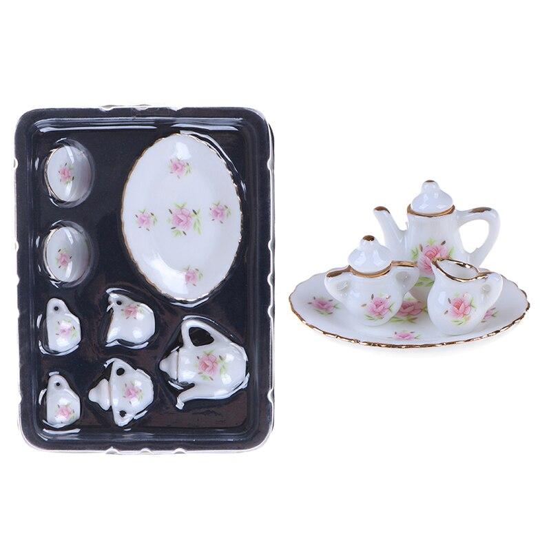 1/12 Dollhouse Miniature Dining Ware Porcelain Tea Set Dish Cups 8Pcs/set