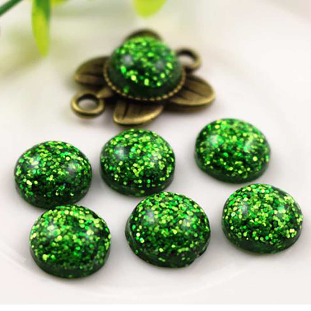 New Fashion 40pcs 12mm Green Color Flat Back Resin Cabochons Cameo  G7-34