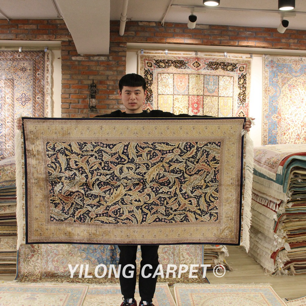 YILONG 3'x5 'tapis en soie persane floral fait à la main vantage exquis tapis en soie turque (ZQG215A)