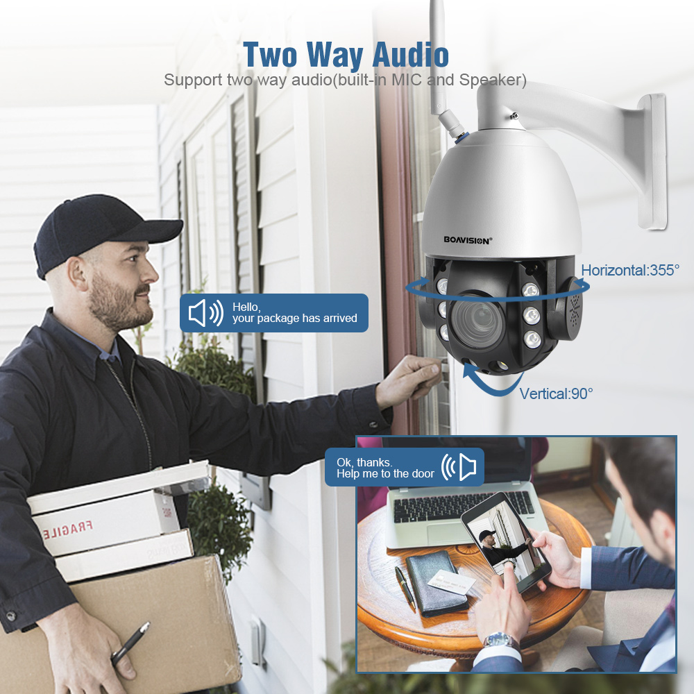 Image 3 - HD 2MP Wireless PTZ Dome IP Cam WIFI 10X / 20X Optical Zoom Outdoor Security Video CCTV Cam Two Way Audio White Light 80M IR-in Surveillance Cameras from Security & Protection