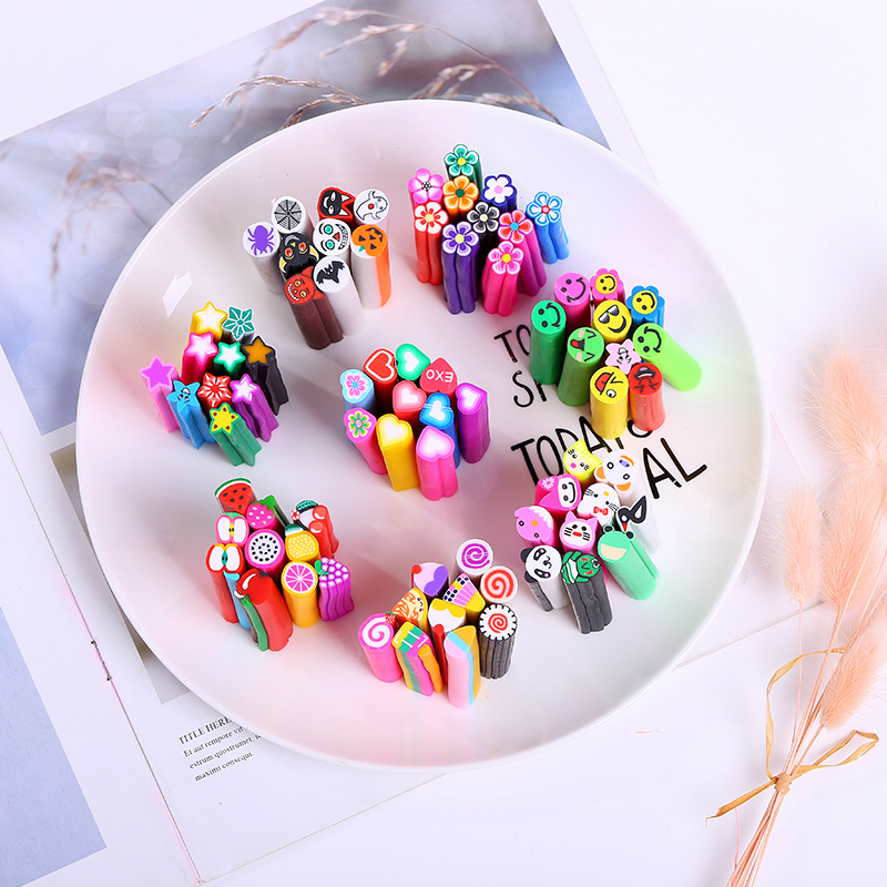 10Pcs Cartoon Fruit Flower Heart Halloween Decoration Fimo Polymer Clay Sticks DIY Cut Slices Slime Nail Art Accessories 10*50mm