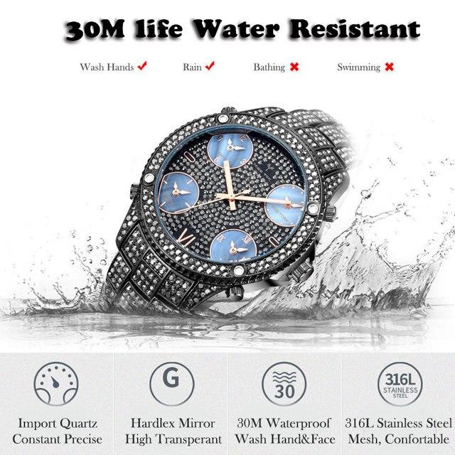 MISSFOX 51MM grand cadran nouvelle mode de luxe marque hommes montres noires Icd Bling simulé plein laboratoire noir Dimaond montre pour hommes