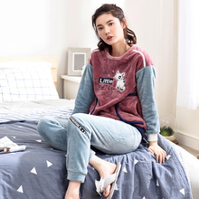 Women autumn and winter thick coral fleece pajamas long sleeve pants cute cartoon Korean flannel warm fluffy women pajama sets