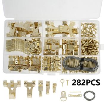282 sztuk zestaw do zawieszenia obrazu metalowy obraz wiszący sprzęt rama wieszak zestaw narzędzi gwoździe małe narzędzia gospodarstwa domowego zestawy ze schowkiem tanie i dobre opinie Metalworking CN (pochodzenie) 200003946 iron copper golden 18*10*2 2cm 8*45mm 1 8*20mm 10*25mm 1 6*25mm 3*10mm Picture Hanging Kit