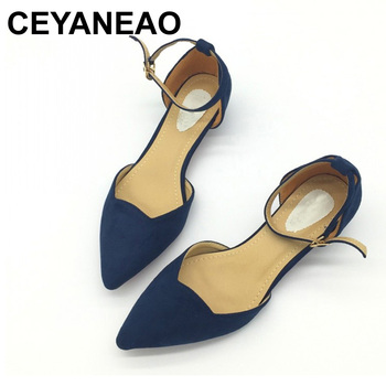 CEYANEAO  Sexy Women Buckle Strap Low Heels Pumps Pointed Toe Flock D'Orsay Shoes For Woman Ladies Single Blue - discount item  48% OFF Women's Shoes