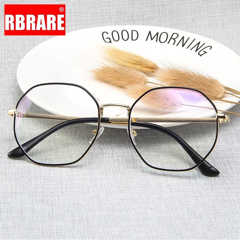 RBRARE-anteojos De gran tamaño para Mujer, montura De gafas redondas De Metal Retro, con espejo plano y luz azul