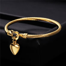 Modyle Gold Color Stainless Steel Chain Bracelet Heart Pendant Charm Bracelets For Men Women 2019 Religious Jewelry(China)