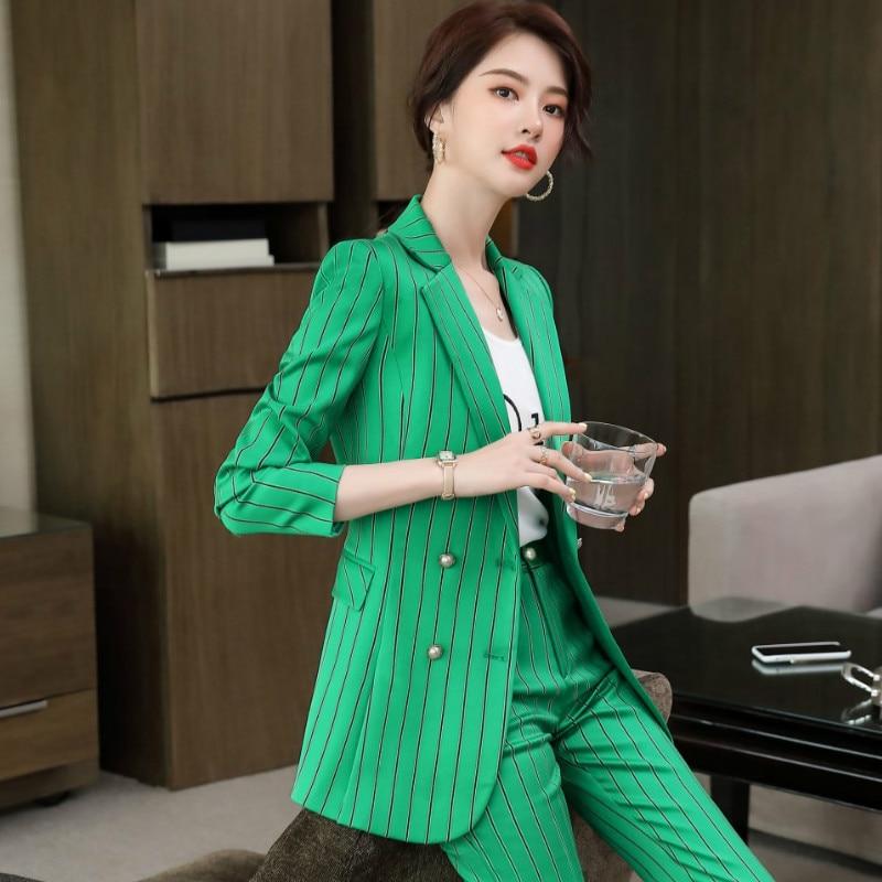 Plus size women's high quality office suit pants two-piece suit Autumn and winter elegant stripes Female Fblazer Casual trousers