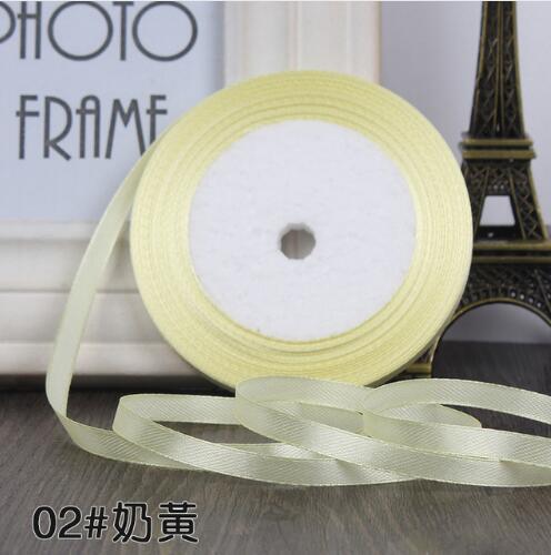 """22 метра(25 ярдов) Шелковая атласная лента 1/""""(6 мм) вечерние украшения для дома, свадьбы, подарочная упаковка, материал для рукоделия на Рождество, год - Цвет: Milk yellow"""