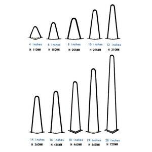 Image 2 - 4 יח\חבילה שולחן רגליים מתכת סיכת ראש ריהוט Ndustrial בסגנון פלדה מראש חורים שנקדחו לצורך התקנה קלה, 415mm