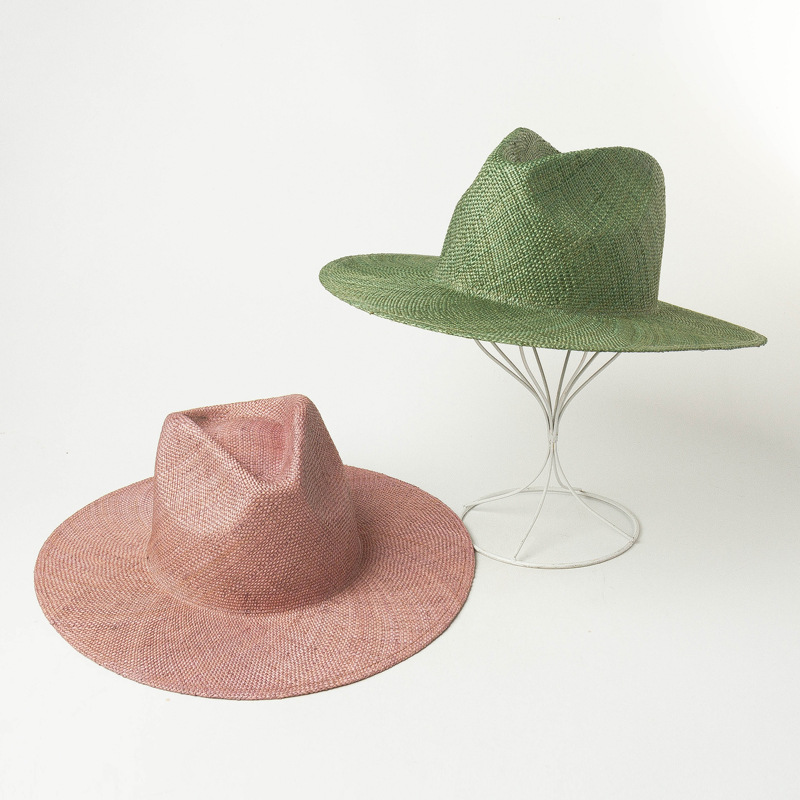 202002-hh7417 New Spring Solid Light Breathable COLOR Handmade Natural Grass Fedoras  Cap Men Women Panama Jazz  Hat