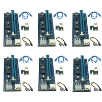 6pcs 006C USB 3.0 PCI E Express 1X 4x 8x 16x Extender Riser Adapter Card SATA 15pin Male to 6pin Power Cable for Bitcoin Mining