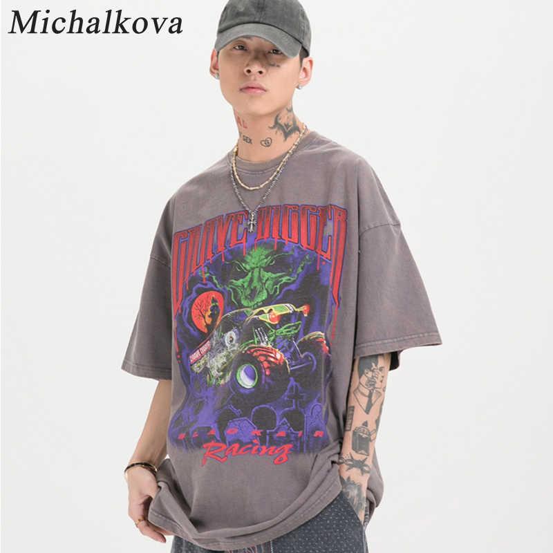 Michalkova Tie Dye Anime Punk Oversized Zomer Mannen/Vrouwen Hip Hop Fashion Gothic Print T-shirt Mannen Streetwear Grafische Tees
