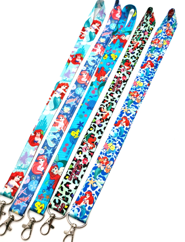 New cartoon Ariel princess  Neck Strap Lanyards  Badge Holder Rope Pendant Key Chain Accessorie