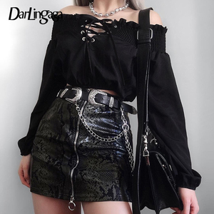 Darlingaga Gothic Off Shoulder Black Blouse Women Ruffles Lace Up Long Sleeve Shirt Fashion Chic Womens Tops and Blouses Clothes