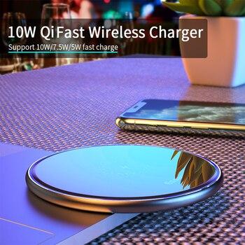 شاحن ايساجر 10W تشى اللاسلكي لاجهزة الايفون 11 Pro Xs Max X Xr 8 Induction Fast Wireless Charging Pad for Samsung S10 Xiaomi mi 9 1