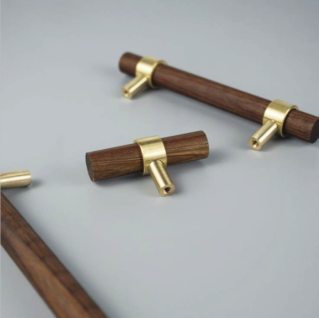 LCH Nordic Style Combinant of Brass and Black Walnut Wood Cupboard Handle Door Pull Handle Color adjustable handle Knob