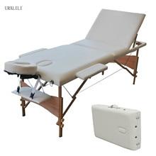 Массажный стол складной 84 дюймов, профессиональная массажная кровать, 3 раза, кровать для ресниц с подлокотником, черный, белый цвет, ножки из бука