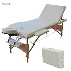 Massage Tisch Klapp 84 zoll Professionelle Massage Bett 3 Falten Lash Bett mit Kopf Armlehne Schwarz Weiß Buche Holz Beine
