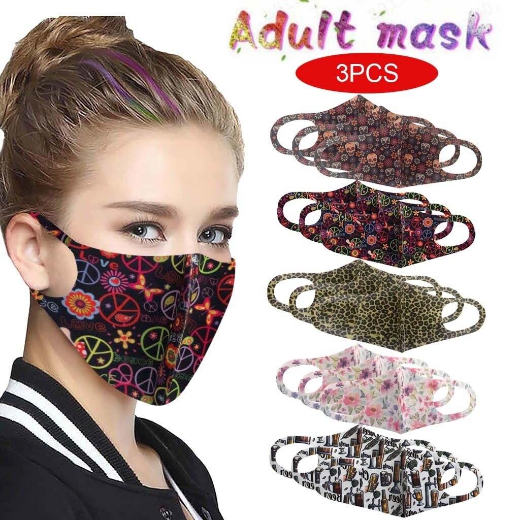 3 шт многоцветные взрослые печатные маски с дышащим защитным ртом для Pm2.5 Ветрозащитная Маска для защиты от пыли|Женские маски|   | АлиЭкспресс