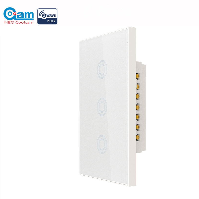 NEO COOLCAM 3 Gang Zwave Plus US Touch Wall Light Switch 3CH Smart Light Switch Panel US 908.4MHZ