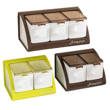 Kitchen Household Wall Mounted Sugar Bowl Salt Spices Jars Organizer Condiment Storage Container Kitchen Seasoning Boxs Gadgets