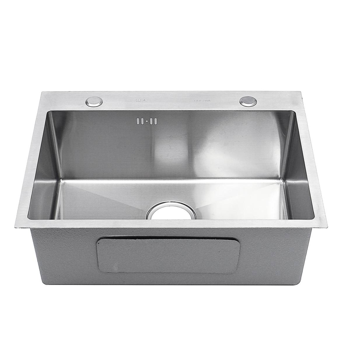 Évier de cuisine en acier inoxydable lavabo à vaisselle à fente unique 62*42cm lavabo à vaisselle avec panier de vidange distributeur de savon tuyau de vidange - 3