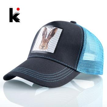 2020 New Baseball Cap Women Fashion Snapback Hip Hop Trucker Caps Men Baseball Hat With Rubbit Patch Breathable Mesh Visor Hats 1