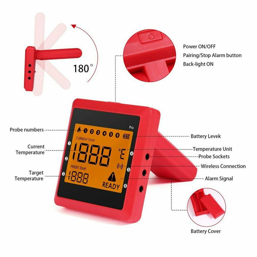 Купить с кэшбэком Bluetooth Smart BBQ Thermometer w/ 6pcs Probes, Large LCD Display Cooking Thermometer APP Controlled Kitchen Household