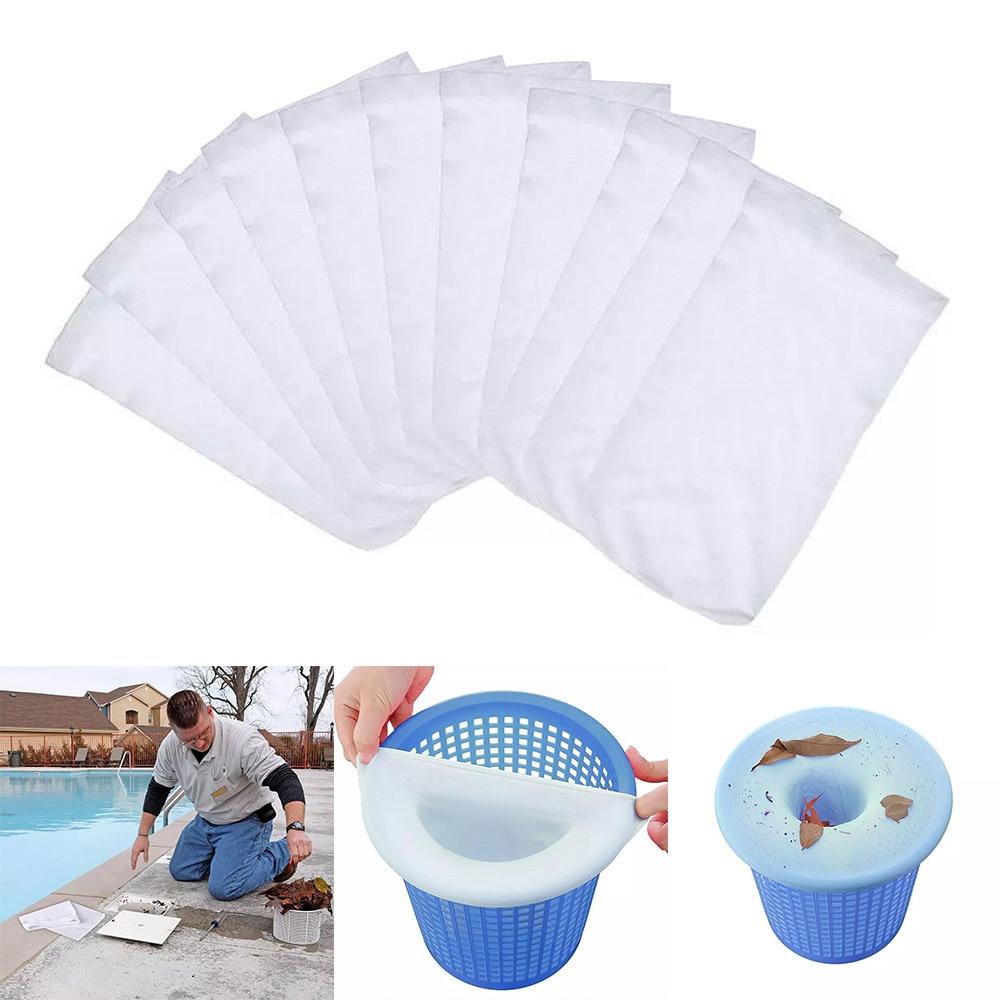 5/10/20pcs/Set Filter Storage Pool Skimmer Socks Nylon Swimming Pool Filter Socks For Baskets Skimmers White Pool Supplies