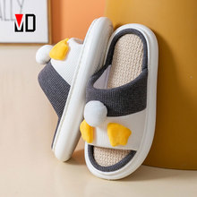Mo Dou 2021 New Spring Summer Hemp Cotton Slippers Cute Duck Couples Home Shoes Thick Sole Soft Quality Design Men Women Indoor