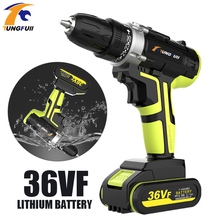 48VF 36VF Lithium Batteries Cordless Electric Drill Screwdriver LED 25-speed Torque Double Speed Waterproof Power Tools electric drill screwdriver redverg rd sd330 330 w power torque 15нм 2 speed