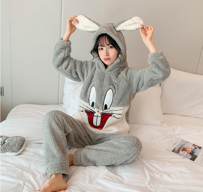 2020 Winter Coral Velvet Plush Women's Pajamas Set Thick Flannel Long Sleeve Cartoon Pajama Sets Female Rabbit Warm Home Clothes