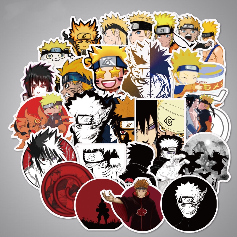 100Pcs/lot Sticker Japan Anime Naruto Stickers Cartoon For Snowboard Laptop Luggage Fridge Car- Styling Vinyl Decal Stickers