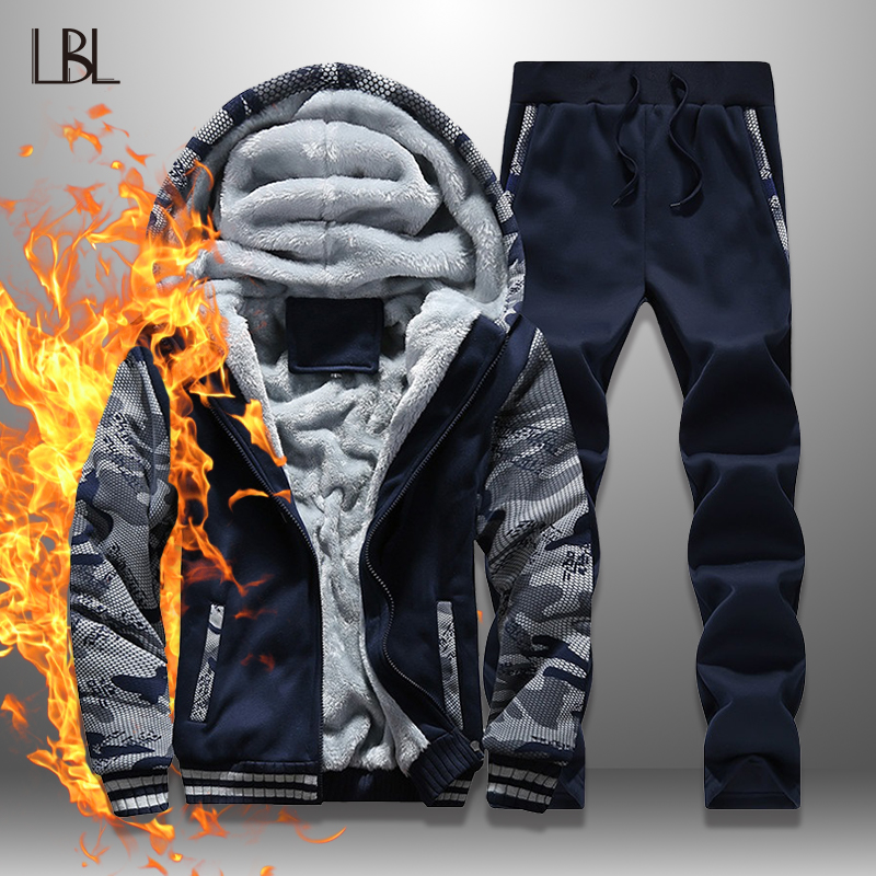 LBL Fleece Winter Tracksuit Men Set Streetwear Mens Hoodie Sets Camouflage Thick Hooded Jacket Male Patchwork Moleton Masculino