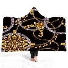 Manta con capucha de felpa de estilo Vintage con impresión 3D mantas de forma hueca