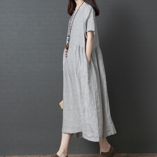 Uego Short Sleeve Loose Summer Dress Button striped Cotton Linen Vintage Dress Plus Size Women Holiday Casual Midi Dress 2