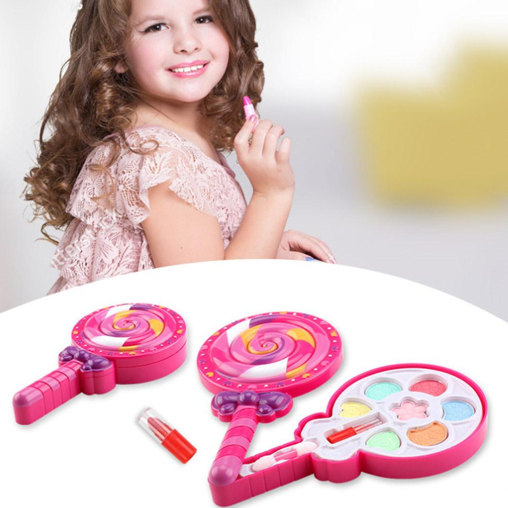 Kids Girl Make Up Set Toy Gift Lollipop Shape Lipstick Eye Shadow Cosmetic Palette Pretend Play Makeup Toys For Children