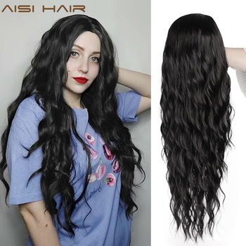 AISI HAIR Long Black Wavy Wig  Synthetic Wave Wigs for Black Women Natural Middle Part Wigs Heat Resistant Hair charming long black shaggy wavy heat resistant synthetic ponytail for women