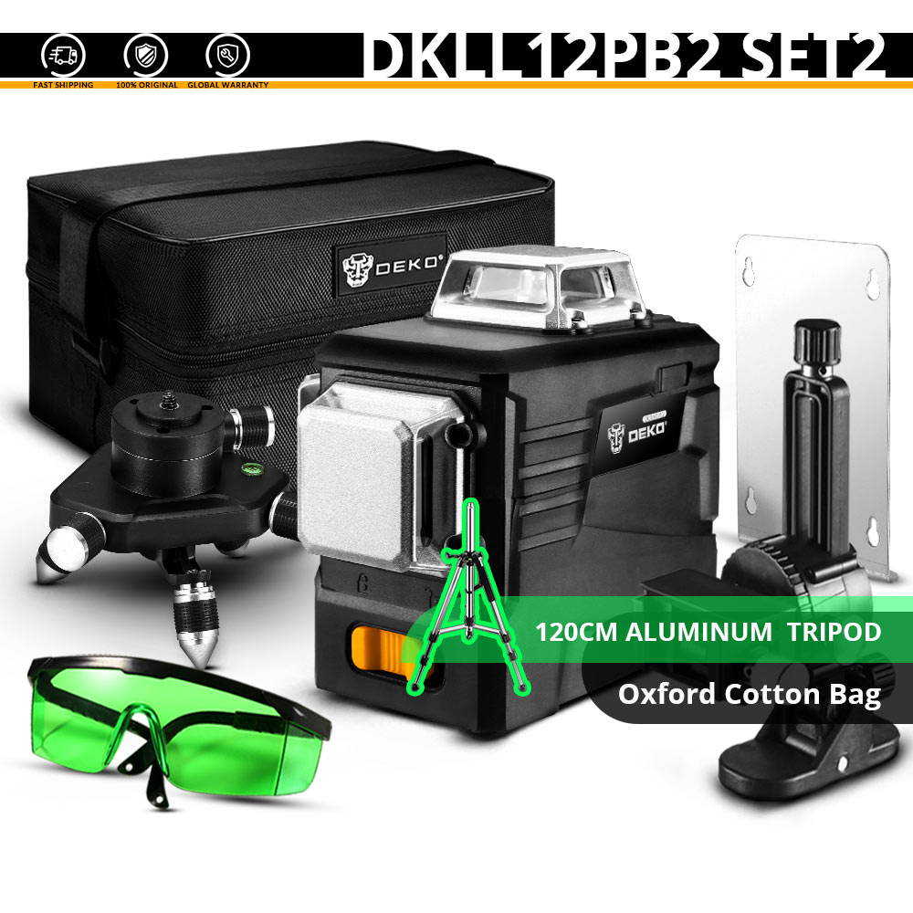DEKO DC Series 12 Lines 3D Green Laser Level Horizontal And Vertical Cross Lines With Auto Self-Leveling, Indoors and Outdoors - Цвет: DKLL12PB2 SET2