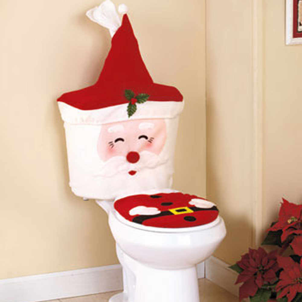 Toilet Seat Cover Christmas Decoration Happy Creative Santa Claus Toilet Seat And Tank Cover Set сиденье для унитаза Cover Toilet Seat Covers Aliexpress