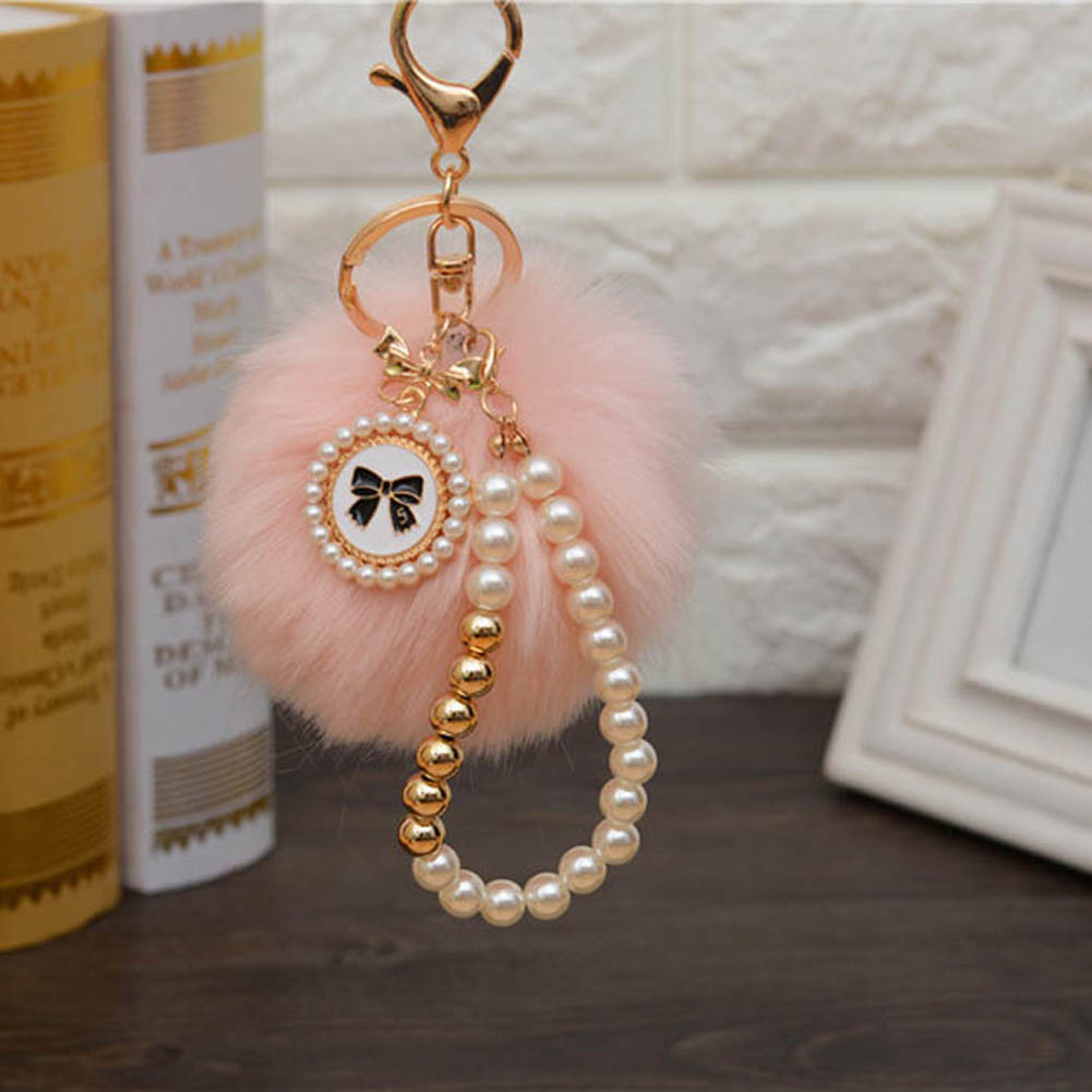 Novelty Trinket For Women Bag Car Ornament Fur Ball Keychains Keyring Holder Bag Charm Rabbit 2018 Imitation Pearls