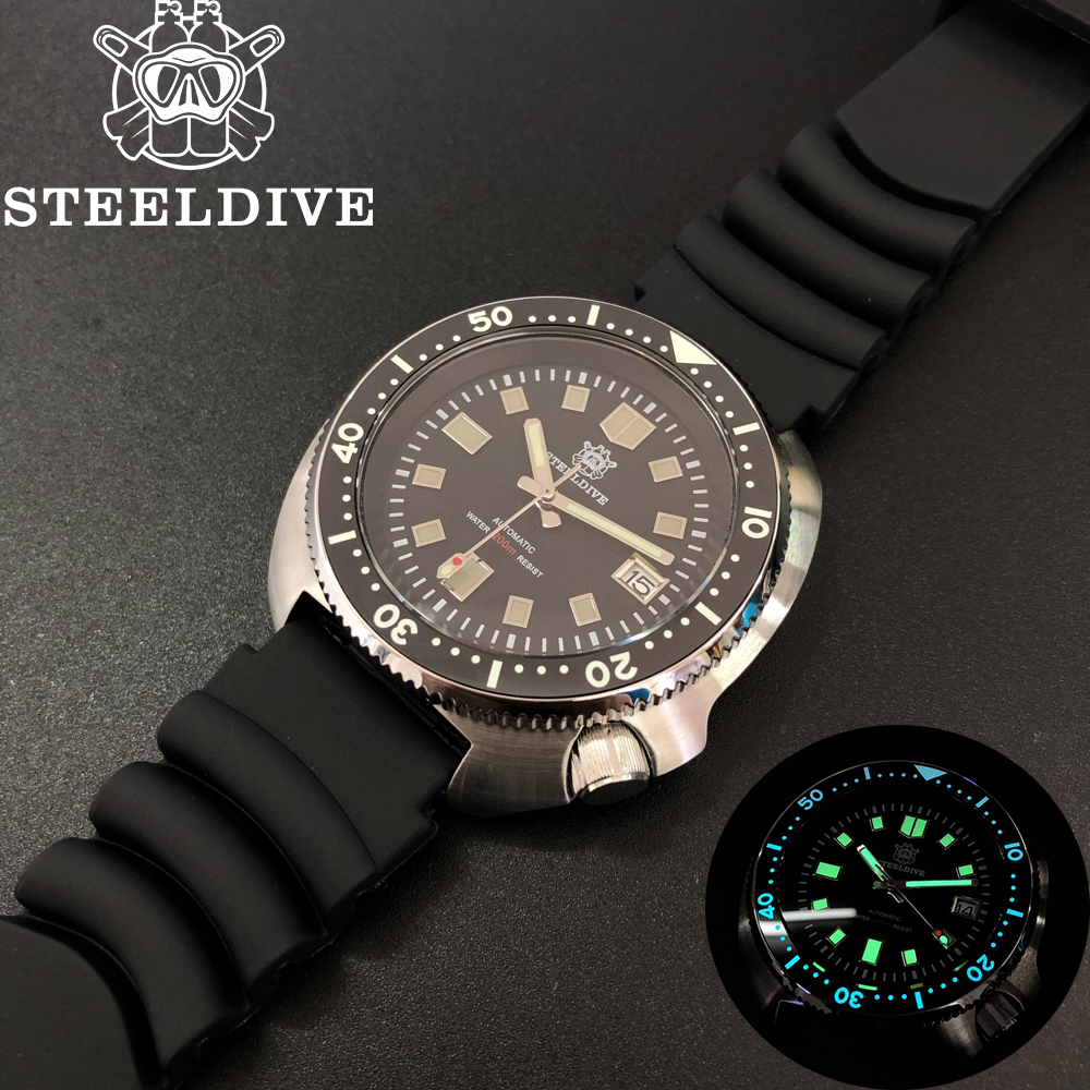 SteelDive 1970 Abalone Dive Watches Men 200m Mechanical Watch Men Mechanical Watches C3 Luminous NH35 Sapphire Crystal Watch Men