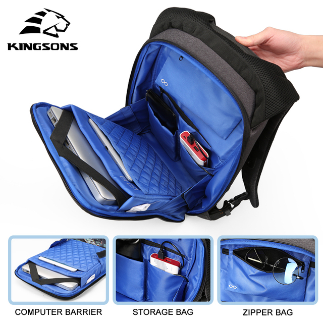 Kingsons  Laptop Backpack Men Women 13 15 USB Chargin Anti-theft Lock Travel Backpack Phone Sucker School Bag Fashion Backpack 6