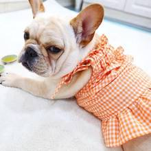 Pet Dog Skirt Spring And Summer Cute Small Strapped Dress Law Bucket Bully Corgi Orange Plaid Princess Dress Clothes(China)