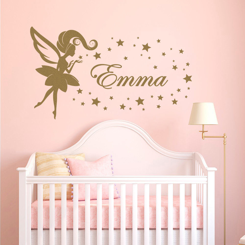Personalized Tinkerbell Custom Name Kids wall art vinyl decal Removable girl